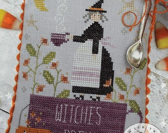 Cross Stitch Pattern, The Witches Brew, Halloween Decor, Witch, Moon, Pumpkin, Primitive Decor, Brenda Gervais, PATTERN ONLY