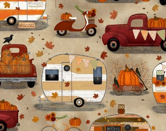 Quilt Fabric, Harvest Campers, Pick Up Trucks, Campers, Pumpkins, Fall Decor, Autumn Decor, Country Rustic, Farmhouse, 3 Wishes, Beth Albert