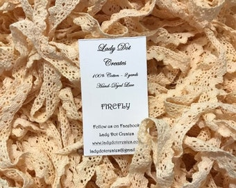 Cotton Lace Trim, Lady Dot Creates, Firefly, Hand Dyed Lace, Cotton Lace, Red Lace, Sewing Notion, Sewing Accessory, Sewing Trim