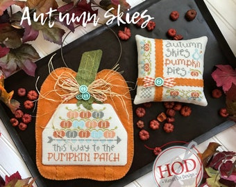 Cross Stitch Pattern, Autumn Skies, Fall Decor, Autumn Decor, Pumpkins, Primitive Pillow Ornament, Hands on Design, PATTERN ONLY
