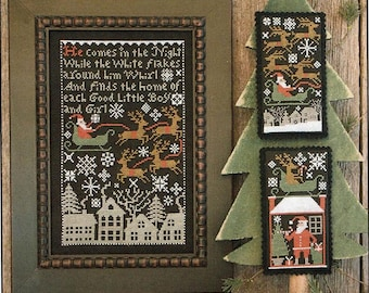 Counted Cross Stitch, Santa's Night, Cross Stitch Patterns, Christmas Decor, Christmas Ornaments, The Prairie Schooler,  PATTERN ONLY