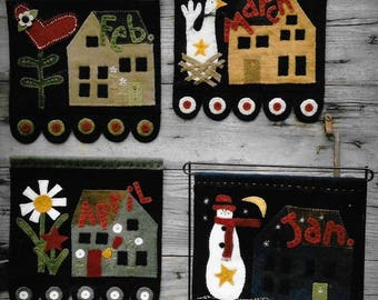 Wool Applique Pattern, Salt Box Houses, Primitive Decor, Saltbox Banner, Wool Wall Hanging, Cabin Decor, Wooden Spool Designs, PATTERN ONLY