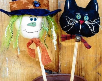 Sewing Pattern, Witch N Cat, Halloween Pattern, Black Cat, Halloween Witch, Plant Pokes, Primitive Decor, Cottonwood Creations, PATTERN ONLY