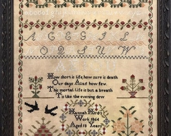 Counted Cross Stitch Pattern, Hannah Hird 1854, Reproduction Sampler, Inspirational, Primitive Decor, The Scarlett House, PATTERN ONLY