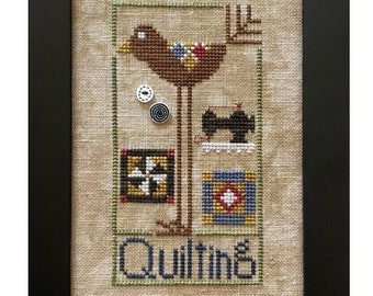 Counted Cross Stitch Pattern, Quilting Bird, Sewing Room, Wee One: Quilting Bird, Sewing Machine, Pinwheel, Heart in Hand, PATTERN ONLY