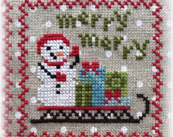 Counted Cross Stitch, Snowy 9 Patch, Snowman, Part 3, Snow, Winter Decor, Snowflakes, Christmas Decor, Annie Beez Folk Art, PATTERN ONLY