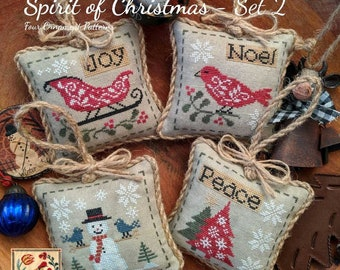 Counted Cross Stitch Pattern, Spirit of Christmas - Set 2, Christmas Ornaments, Ornament Pillows, Inspirational, Lila's Studio, PATTERN ONLY