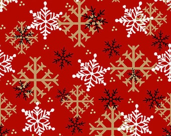 Flannel Fabric, Flannel Gnomies, Snowflakes, Red Snowflakes, Winter Flannel, Cotton Flannel, Quilting Flannel, Shelly Comiskey, Henry Glass