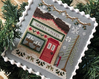 Counted Cross Stitch, Snow Village, Skates & Sleds, Cottage Decor, Winter Decor, Country Cottage Needleworks, PATTERN ONLY