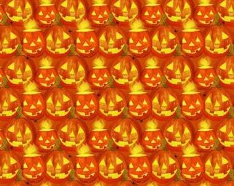 Quilt Fabric, Ghost Party, Orange Jack O'Lanterns, Orange Pumpkins, Spiders, Halloween Fabric, Quilt Fabric, Halloween Decor, 3 Wishes