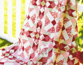 Quilt Pattern, Morning Blush, Pieced Quilt, Star Quilt, Shoofly Quilt, Twin Bed Quilt, Shabby Fabrics, Jennifer Bosworth, PATTERN ONLY