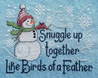 Counted Cross Stitch Pattern, Frosty Friends, Snowman, Christmas, Winter Decor, Wall Hanging, Cardinals, Waxing Moon Designs, PATTERN ONLY
