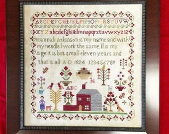 Counted Cross Stitch Pattern, Hannah Atkinson, 1824, Sampler, Reproduction Sampler, Saltbox Sampler, Victorian Rose Needlearts, PATTERN ONLY
