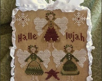 Counted Cross Stitch Pattern, Hallelujah, Christmas Ornament, Cross Stitch Angels, Ornament, Little House Needleworks, PATTERN ONLY
