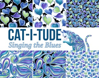 Quilt Fabric, Cat-I-Tude, Black Cats, White Cats, Paisley, Hearts, Quilter Cotton, Singing the Blues, Ann Lauer, Grizzly Gulch, Benartex