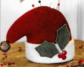 Wool Applique Pattern, Santa Hat Pin Cushion, Wool Pin Keep, Sewing Accessory, Christmas Decor, Cottonwood Creations, PATTERN ONLY