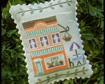 Counted Cross Stitch, Main Street Cafe, Cottage Decor, Main Street Series #7, Country Cottage Needleworks, PATTERN ONLY