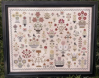 Counted Cross Stitch Pattern, Floral Motif Sampler, Flower Basket Sampler, Flower Baskets, Floral Sampler, The Scarlett House, PATTERN ONLY