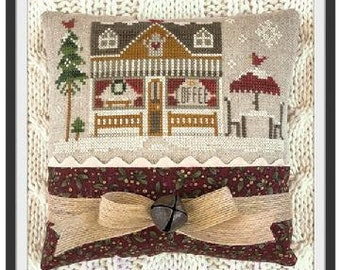 Counted Cross Stitch Pattern, Coffee Shop, Hometown Holiday, Ornament Pillow, Christmas Ornament, Little House Needleworks, PATTERN ONLY