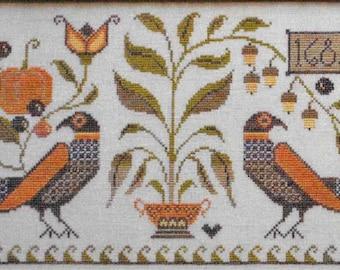 Counted Cross Stitch Pattern, Autumn Fraktur, Autumn Decor, Fall Decor, German Fraktur, Primitive Decor, Plum Street Samplers PATTERN ONLY