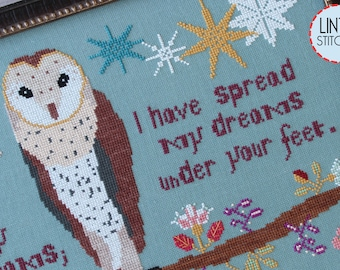 Counted Cross Stitch Pattern, Tread Softly, Garden Decor, Barn Owl, Inspirational, Cottage Chic, William Yeats, Lindy Stitches, PATTERN ONLY