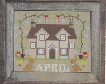 Counted Cross Stitch Pattern, April Cottage, I'll Be Home Series, Spring Decor, Country Rustic, Twin Peak Primitives, PATTERN ONLY