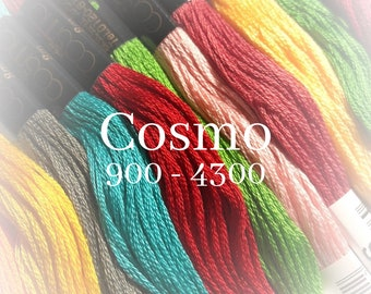 Cosmo, 900 - 4300, 6 Strand Cotton Floss, Size 25, Embroidery Floss, Cross Stitch Floss, Punch Needle, Embroidery, Wool Applique, Quilting