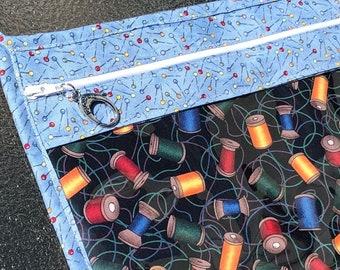 Project Bag, Vinyl Pocket Bag, Zippered Project Bag, Cross Stitch Bag, Needlework Project Bag, Knitting Bag, Crochet Bag, Clear Project Bag