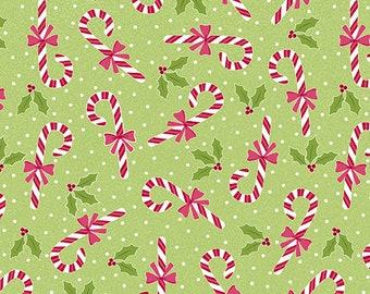 Quilt Fabric, Joy, Candy Canes, Lime, Christmas Fabric, Holiday, Benartex, Contempo, Cherry Blossom Quilting, Cherry Guidry