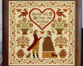 Counted Cross Stitch Pattern, Above All, Sampler, Folk Art, Country Decor, Primitive Decor, Teresa Kogut, PATTERN ONLY