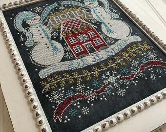 Counted Cross Stitch Pattern, Let It Snow Bungalow, Chalk Artwork, Snowmen, Winter Decor, Farmhouse Decor, Hands On Design, PATTERN ONLY
