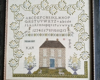 Counted Cross Stitch Pattern, One Heart, Sampler, Reproduction Sampler, Antique Reproduction, Saltbox, Samplers Not Forgotten, PATTERN ONLY