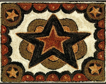 Punch Needle Pattern, Farmhouse Star, Rustic Star, Country Decor, Primitive Decor, Teresa Kogut, Punch Needle Embroidery, PATTERN ONLY