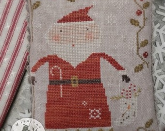 Counted Cross Stitch Pattern, Merry Old Soul, Christmas Decor, Santa, Candy Canes, Stocking, Primitive Decor, Brenda Gervais, PATTERN ONLY