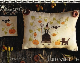 Counted Cross Stitch Pattern, Halloween Tea, Halloween Decor, Witch, Black Cat, Pumpkins, Bats, Pumpkin Vine, Madame Chantilly, PATTERN ONLY