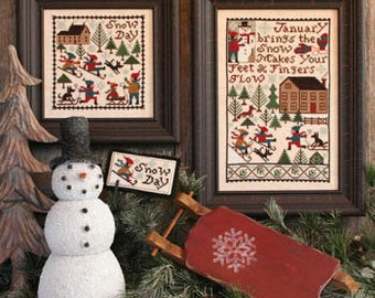 Counted Cross Stitch, January, Winter Decor, Snow Day, Snowman, Sleigh Ride, Country Rustic, The Prairie Schooler,  PATTERN ONLY