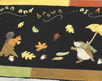 Wool Applique Pattern, It's Raining Autumn, Wool Table Runner, Fall Decor, Autumn Decor, Primitive Decor, Nutmeg Hare, PATTERN ONLY