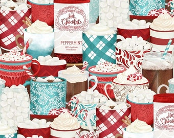 Quilt Fabric, Cuppa Cocoa, Multi Packed Cups, Hot Cocoa, Quilters Cotton, 100% Cotton, Quilter Cotton, Premium Cotton, Danielle Leone