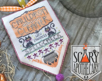 Counted Cross Stitch Pattern, Cauldron Cleaner, Scary Apothecary, Halloween, Black Cats, Witches Cauldron, Hands On Design, PATTERN ONLY