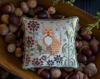 PRE-Order, Counted Cross Stitch Pattern, Clementine, Fall Decor, Orange Tabby, Cat, Corn, Flowers, Plum Street Samplers, PATTERN ONLY
