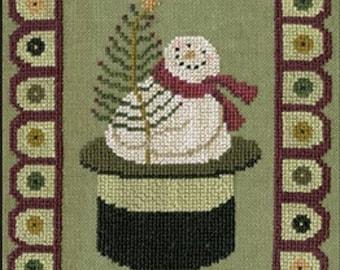 Counted Cross Stitch Pattern, Snow Penny, Christmas Decor, Snowman, Penny Rug, Primitive Decor, Teresa Kogut, PATTERN ONLY