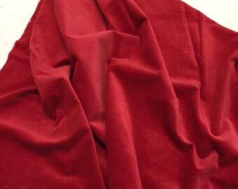 Velveteen, Chili, Red Velveteen, Hand Dyed Velveteen, Cotton Velveteen, Finishing Fabric, Velveteen Fabric, Lady Dot Creates