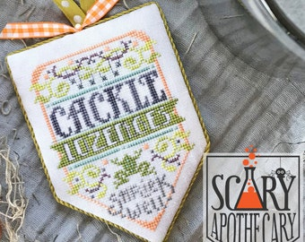 Counted Cross Stitch Pattern, Cackle Lozenges, Scary Apothecary, Halloween, Shriek Well, Green Frog, Hands On Design, PATTERN ONLY