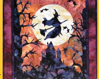 Quilt Pattern, Haunted Hill, Halloween Decor, Halloween Witch, Haunted Mansion, Applique Quilt, Dandelion Seed Design, PATTERN ONLY