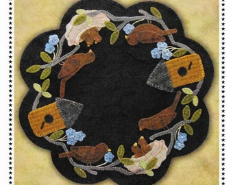 Wool Applique Pattern, Nesting Time, Table Mat, Robin Nest, Spring Decor, Primitive Decor, Candle Mat, Primitive Gatherings, PATTERN ONLY