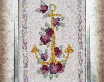 Punch Needle Pattern, Hold Fast, Anchor, Flowers, Botanical, Garden Decor, Woodland, Liz Mathews, Punch Needle Embroidery, PATTERN ONLY