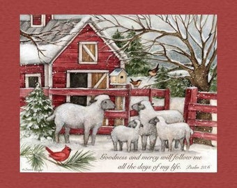 Quilt Fabric, Barn Panel, Winter Fabric, Barn Sheep, Cardinals, Christmas Fabric, Fabric Panel, Inspirational, Holiday, Susan Winget