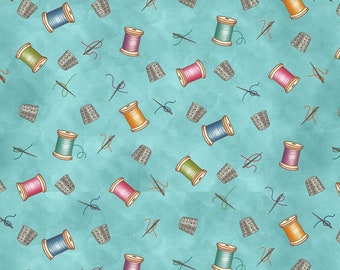 Quilt Fabric, Sew Let's Stitch, Thimbles, Thread, Thread Spools, Needles, Pins, Sewing Fabric, Quilters Fabric, Sandy Lee, Henry Glass