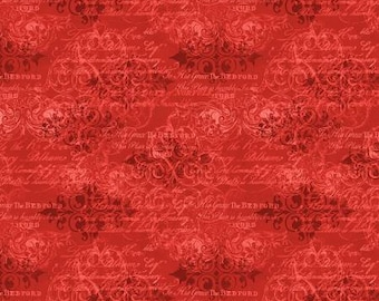 Quilt Fabric, Red Decorative, Cardinal Noel, Decorative Words, Christmas Fabric, Quilters Cotton, Holiday Fabric, Susan Winget Collection