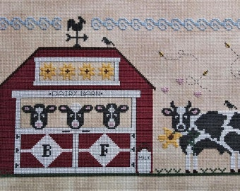 Counted Cross Stitch Pattern, All the Single Ladies, Sunflowers, Cow Barn, Dairy Farm, Rooster Weathervane, Vintage NeedleArts, PATTERN ONLY